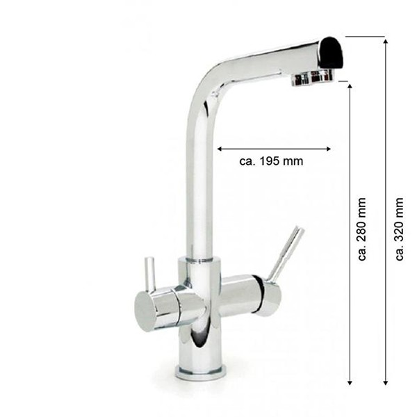 Deluxe Wasserhahn (DUBLIN) METALL FREE, hoher Auslauf mit getrennten Ausläufen für Filter- und Leitu